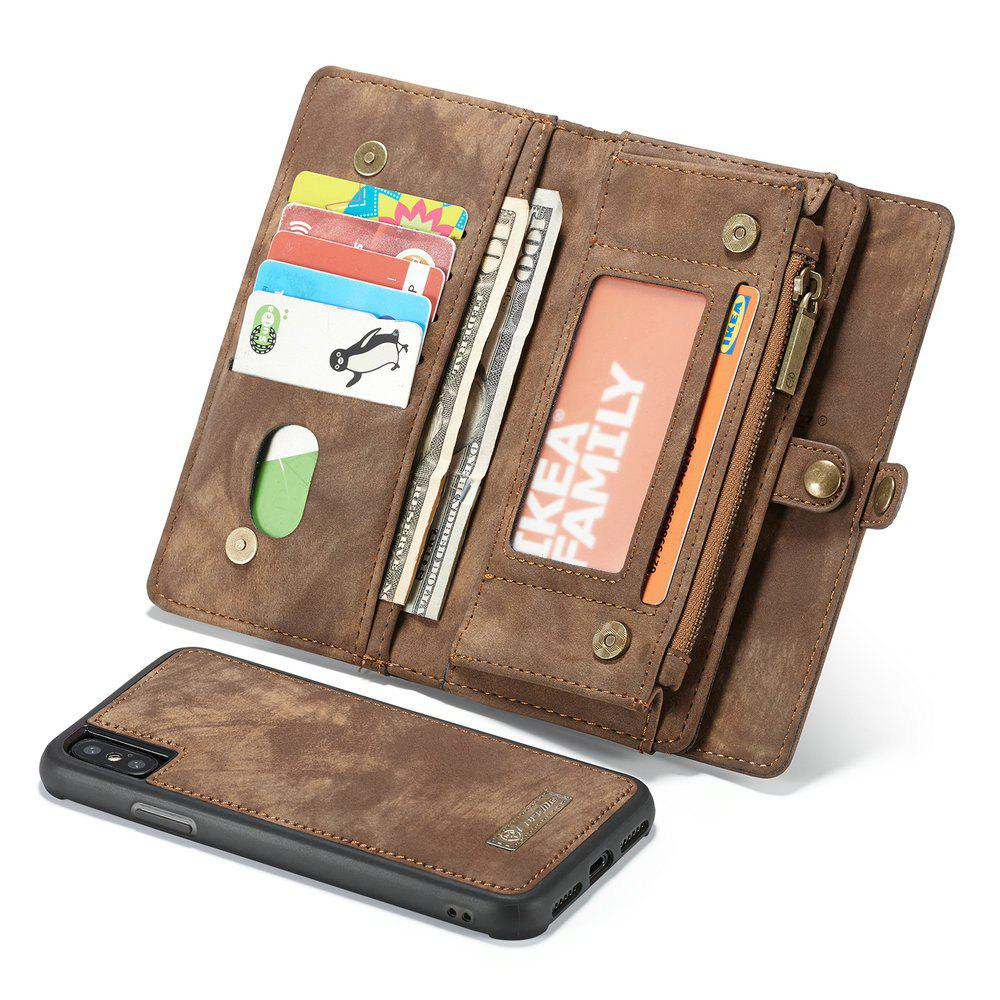 CaseMe For iPhone X Wallet Case Premium Zipper Leather Purse with Detachable Flip Magnetic Cover 11 Credit Card Slots - COFFEE