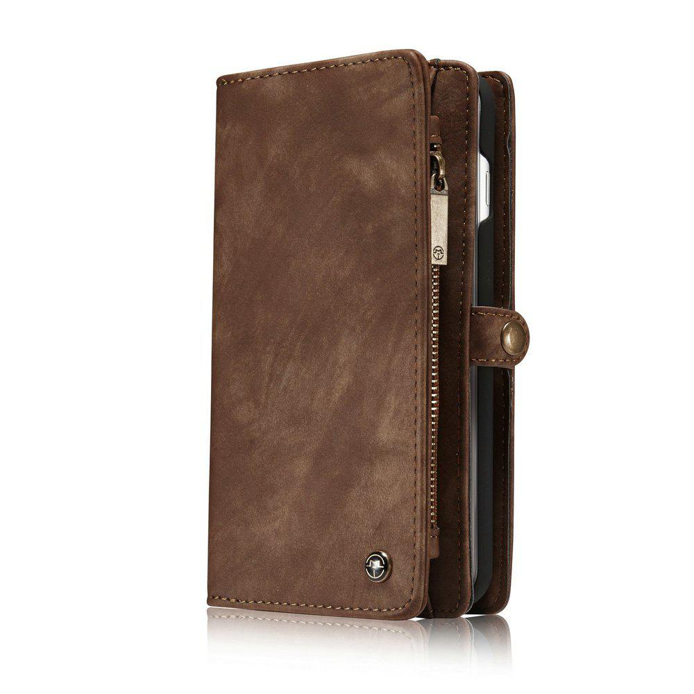CaseMe for iPhone 8 Plus/7 Plus Wallet Case with 11 Card Slots Zipper Coin Pocket Magnetic Flip PU Leather Cover - COFFEE