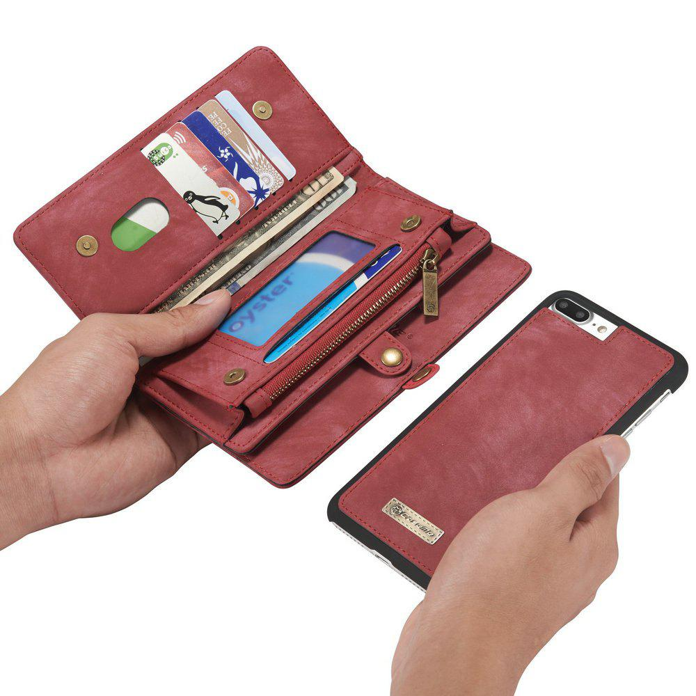 CaseMe for iPhone 8 Plus/7 Plus Wallet Case with 11 Card Slots Zipper Coin Pocket Magnetic Flip PU Leather Cover - RED