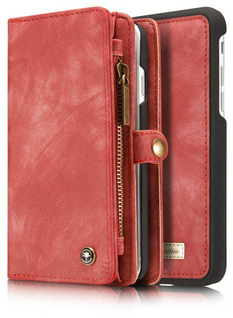 CaseMe for iPhone 7/8 Business Style Premium Multifunction Wallet Protective Phone Case with Safety Zipper Pocket - RED