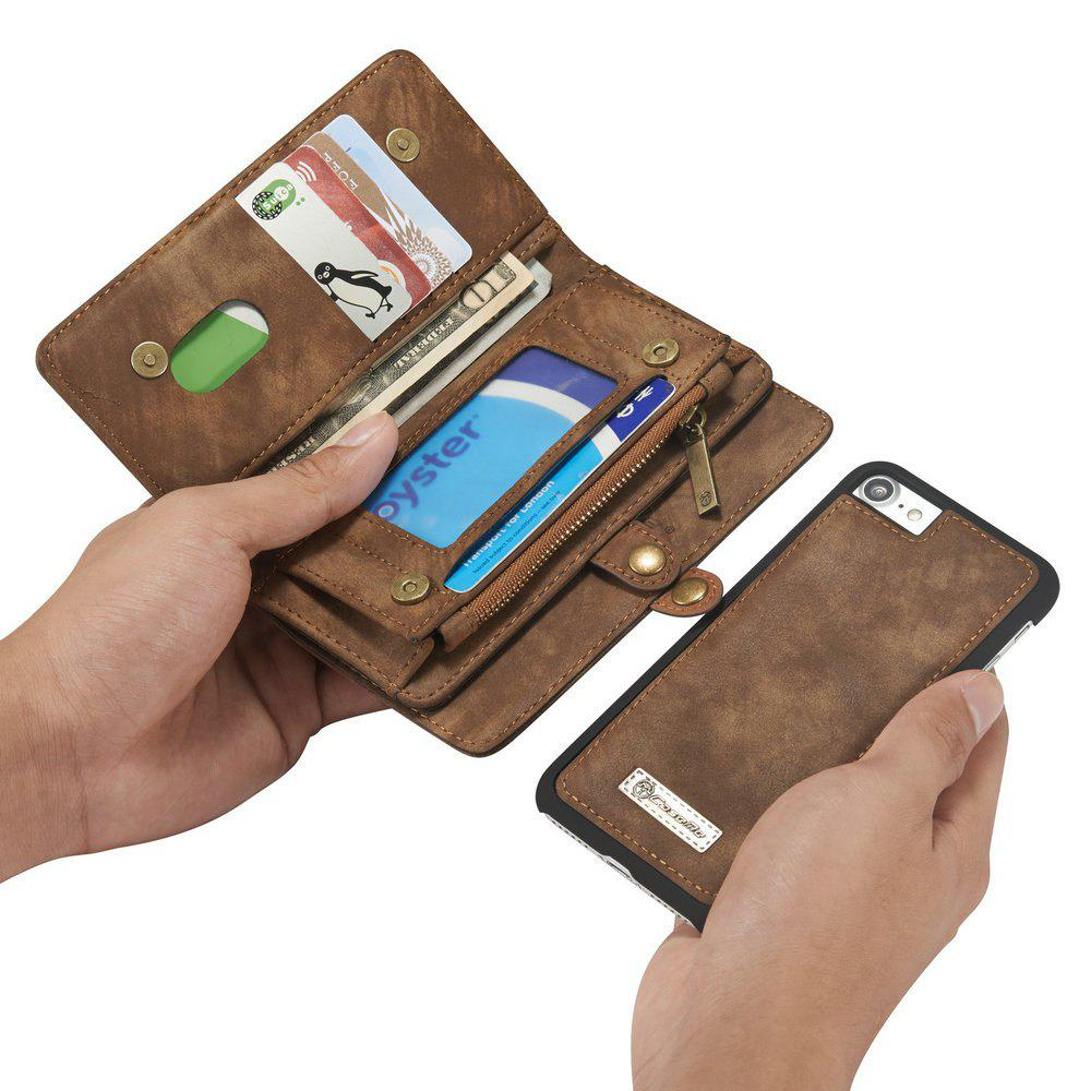 CaseMe for iPhone 7/8 Business Style Premium Multifunction Wallet Protective Phone Case with Safety Zipper Pocket - COFFEE