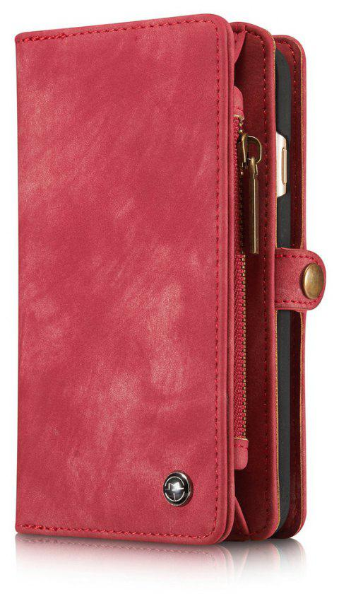 CaseMe for iPhone 6/6S Plus 5.5 inch Multifunction Wallet Leather Case with 11 Card Slots Magnetic Detachable Back Cover - RED
