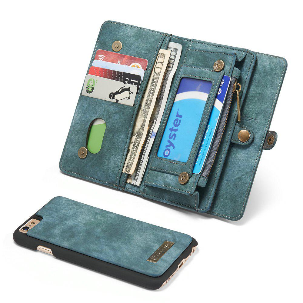 CaseMe for iPhone 6/6S Plus 5.5 inch Multifunction Wallet Leather Case with 11 Card Slots Magnetic Detachable Back Cover - BLUE