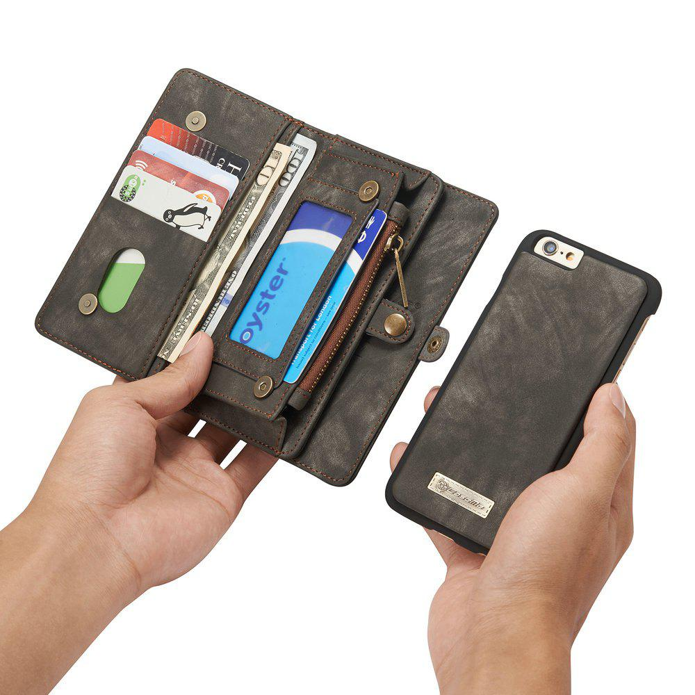 CaseMe for iPhone 6/6S Plus 5.5 inch Multifunction Wallet Leather Case with 11 Card Slots Magnetic Detachable Back Cover - BLACK