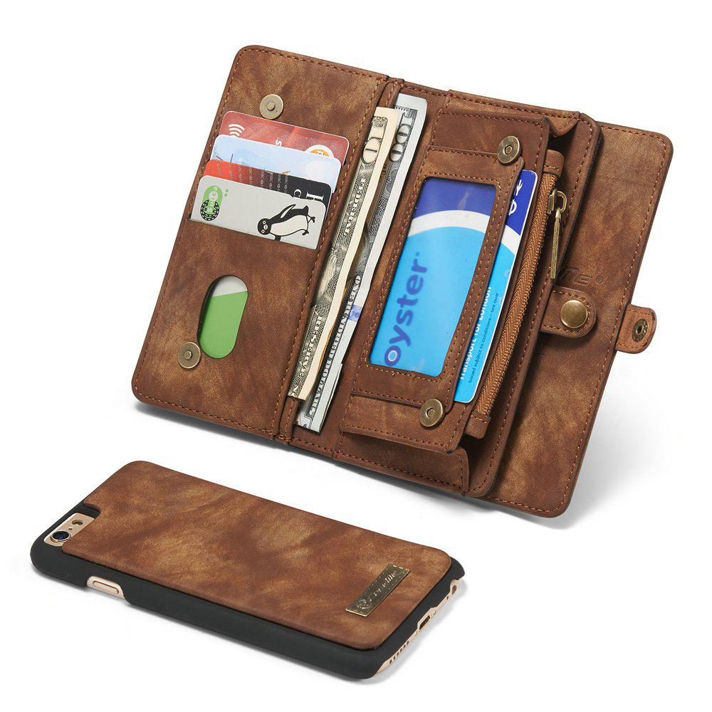 CaseMe for iPhone 6/6S Case 4.7 inch Multifunction Leather Wallet with 11 Card Slots Magnetic Detachable Back Cover - COFFEE