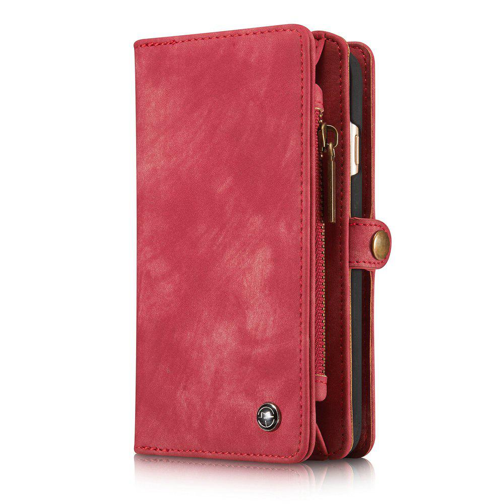 CaseMe for iPhone 6/6S Case 4.7 inch Multifunction Leather Wallet with 11 Card Slots Magnetic Detachable Back Cover - RED