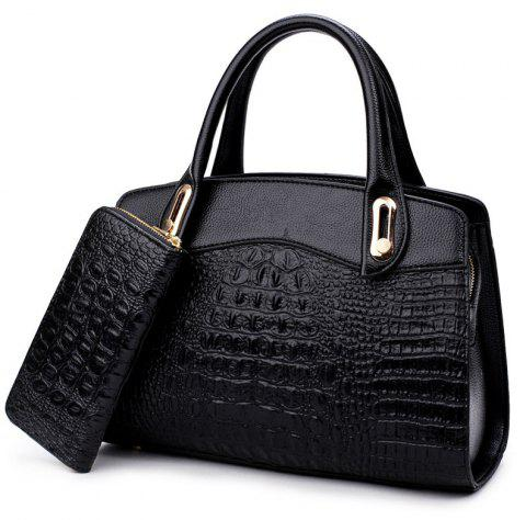 The New Fashion Lady's Backpack Two Pieces - BLACK