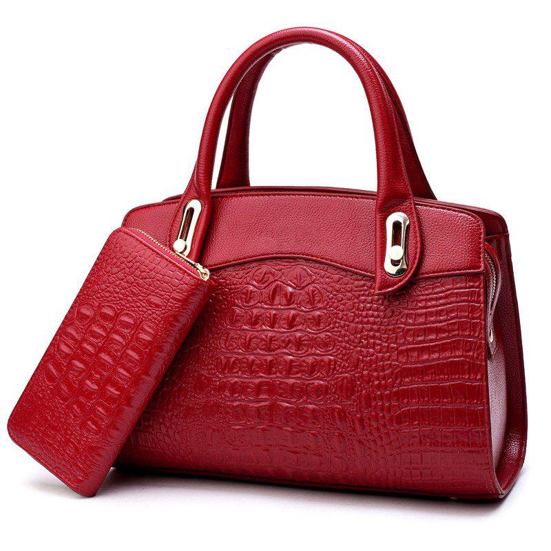 The New Fashion Lady's Backpack Two Pieces - RED
