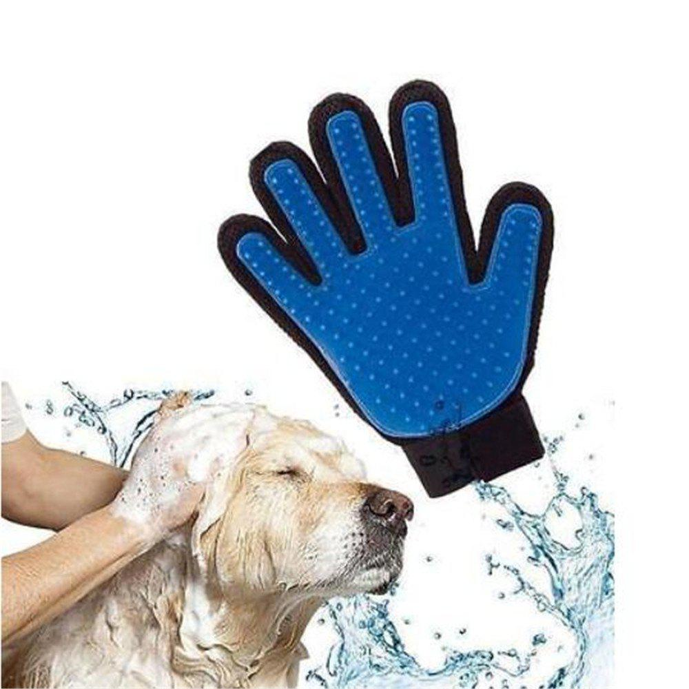 New Cleaning Brush Magic Glove Pet Dog Cat Massage Hair Removal Grooming Groomer(One Glove) - BLUE