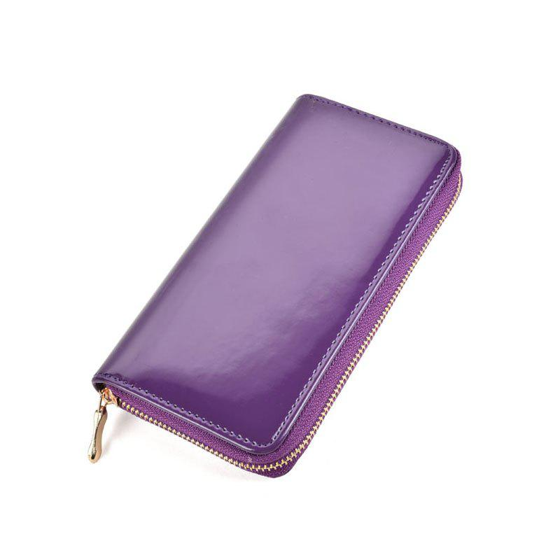 Women's Purse Solid Color Long Pattern All Match Brief Style Charming Fashionable Purse - PURPLE