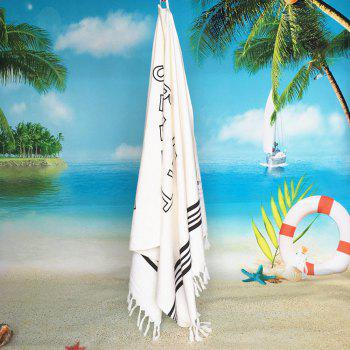 Cotton Soft Printed Words Swimming Bath Towel - WHITE