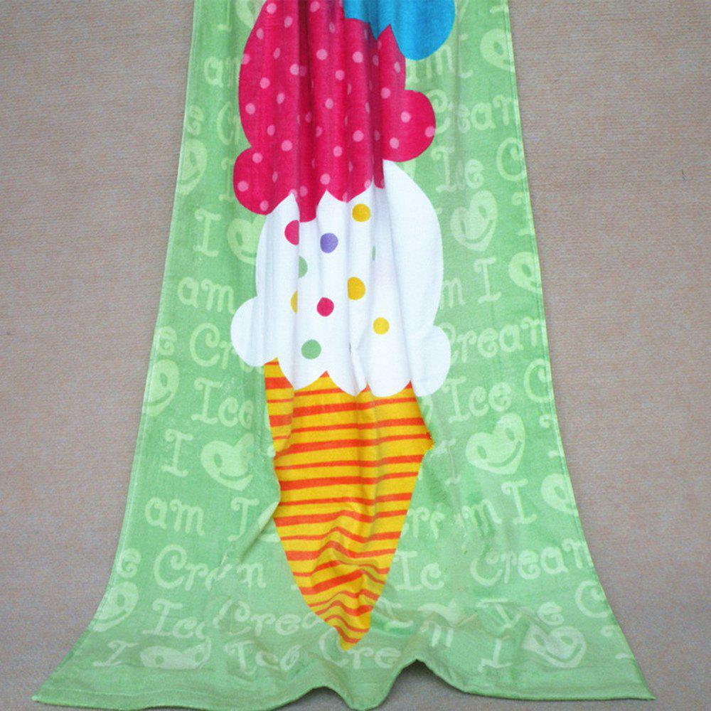 Cotton Printing Beach Towel For Children - GREEN