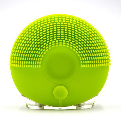 Silicone Vibrating Massager Waterproof Charging Beauty Face Cleaning Machine - GREEN