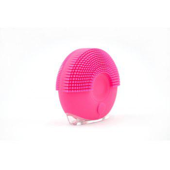 Silicone Vibrating Massager Waterproof Charging Beauty Face Cleaning Machine - ROSE RED