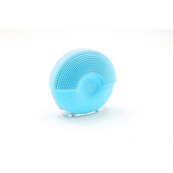 Silicone Vibrating Massager Waterproof Charging Beauty Face Cleaning Machine - BLUE