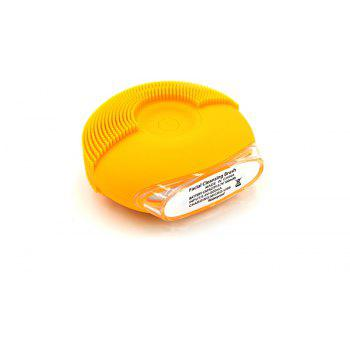 Silicone Vibrating Massager Waterproof Charging Beauty Face Cleaning Machine - YELLOW