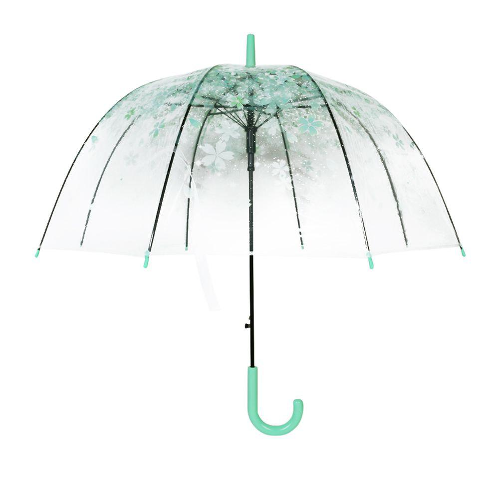 Beautiful Cherry Blossom Transparent Umbrella Clear Dome Bubble Umbrella green color - IVY