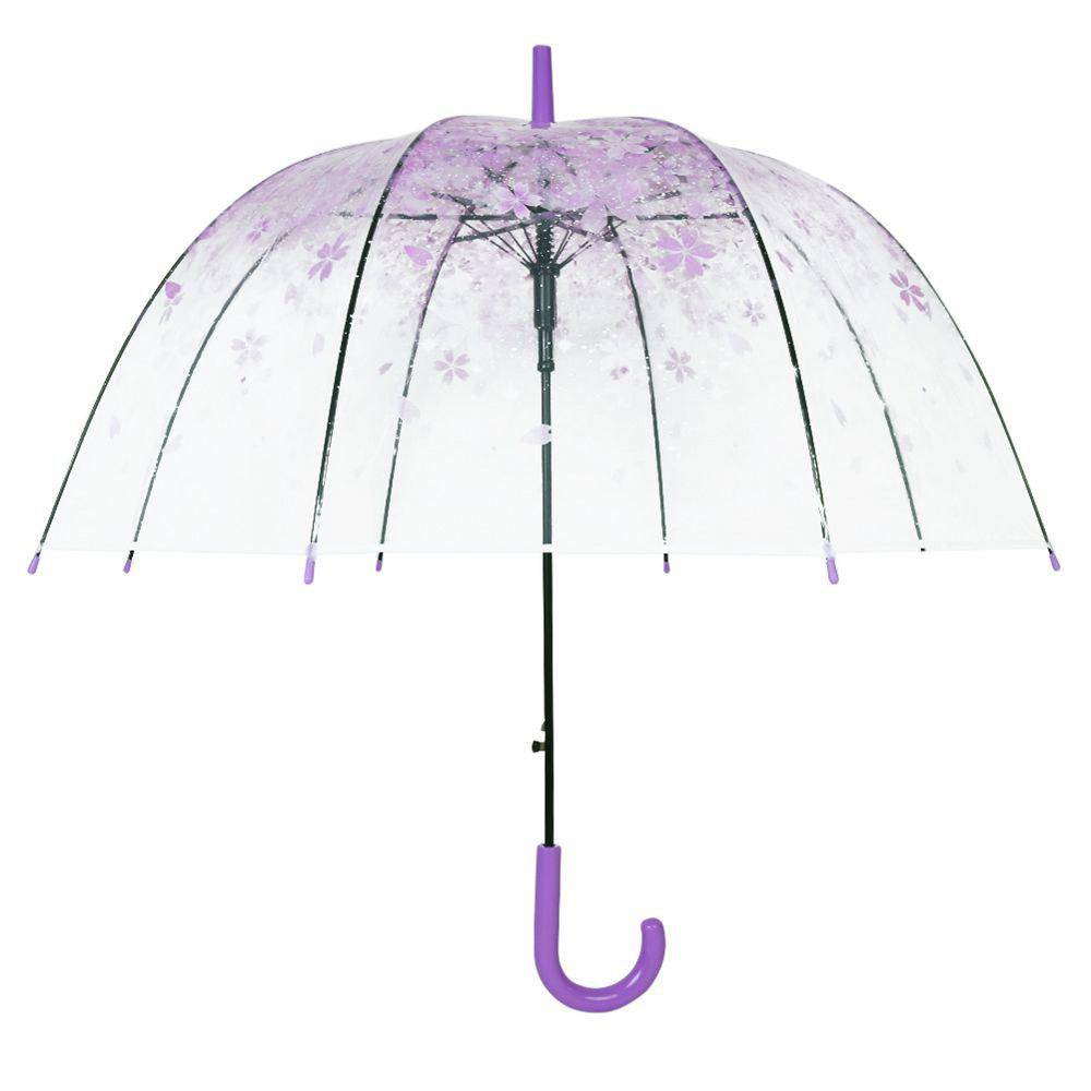 Beautiful Cherry Blossom Transparent Umbrella Clear Dome Bubble Umbrella Purple Color - PURPLE
