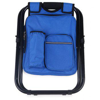 Portable Folding Backpack Cooler Bag Stool Beach Chair For Camping Fishing Hiking Picnics - BLUE