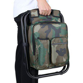 Portable Folding Backpack Cooler Bag Stool Beach Chair For Camping Fishing Hiking Picnics - CAMOUFLAGE