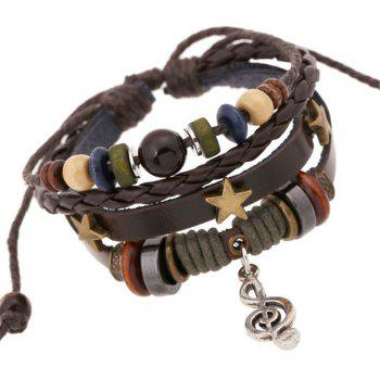 Beaded Alloy Note Leather Bracelet and Bangles