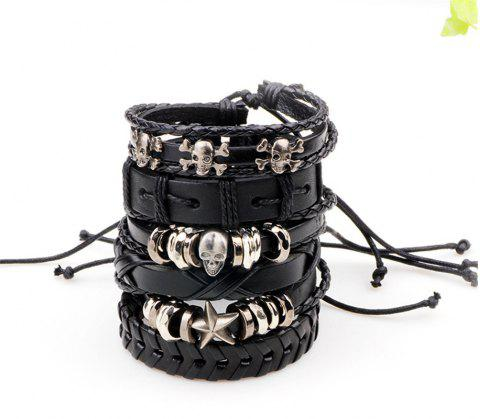 Leather Bangles Multilayer Punk Charm Wrap Bracelets for Women and Men Jewelry - BLACK