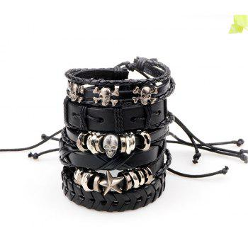 Leather Bangles Multilayer Punk Charm Wrap Bracelets