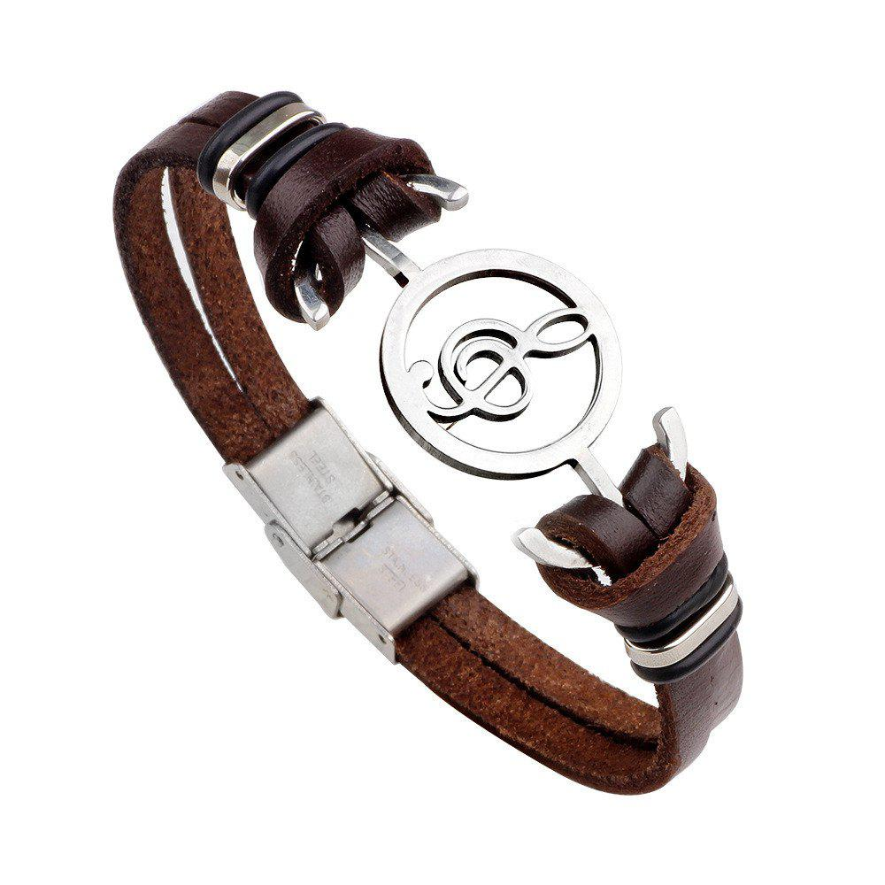 Stainless Steel Genuine Leather Bracelets For Women Men Charm Jewelry Bangle