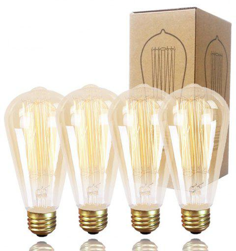 GMY Lighting Tungsten Light ST64 Vintage Edison Bulb Dimmable 60 Watt E26 2200K (4 Pack) - WARM WHITE