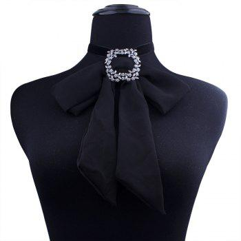 European and American Style and New Style Accessories, Chiffon Cloth Bow Tie Necklace Necklaces and Neckline - BLACK
