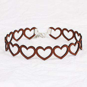 Popular Black South Korean Cashmere Heart Clavicle Necklace Choker Collar Accessories - DEEP BROWN