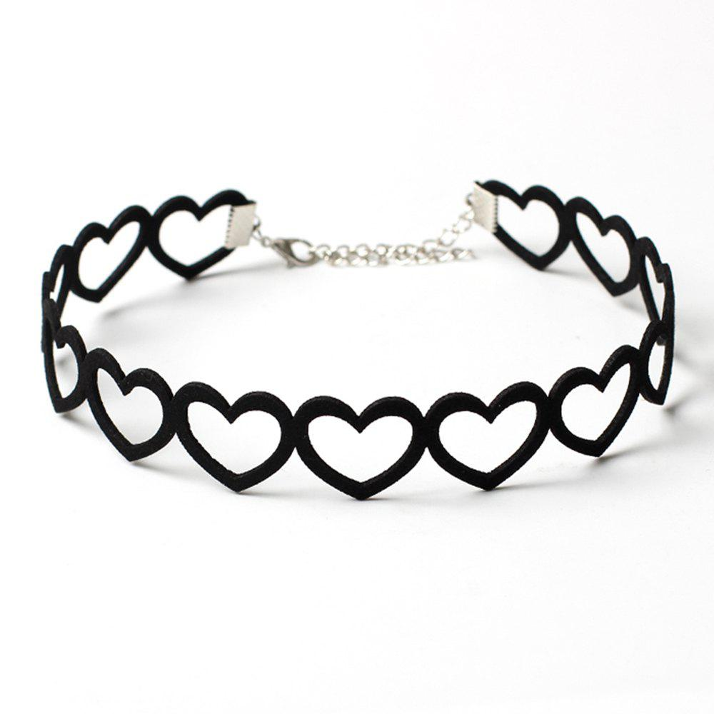 Popular Black South Korean Cashmere Heart Clavicle Necklace Choker Collar Accessories - BLACK