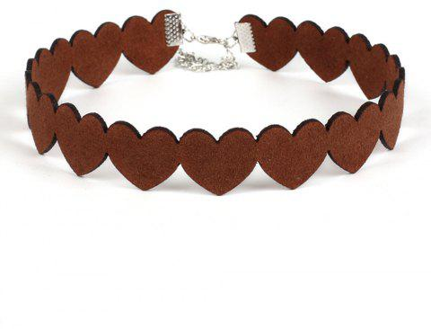Heart-shaped Korean Velour Heart Necklace Collar Velour Love Choker Necklace Creative Models Jewelry - BROWN
