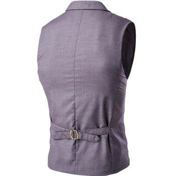 Men's Waistcoat Cotton Double-breasted Button Sleeveless Turndown Collar Gilet - GRAY M