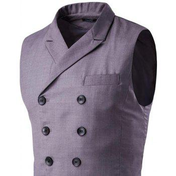 Men's Waistcoat Cotton Double-breasted Button Sleeveless Turndown Collar Gilet - GRAY L