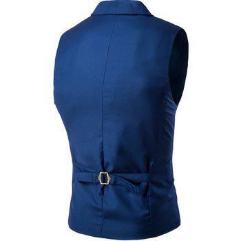 Men's Waistcoat Cotton Double-breasted Button Sleeveless Turndown Collar Gilet - BLUE L