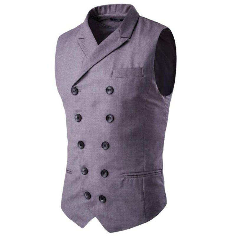 Men's Waistcoat Cotton Double-breasted Button Sleeveless Turndown Collar Gilet - GRAY 4XL