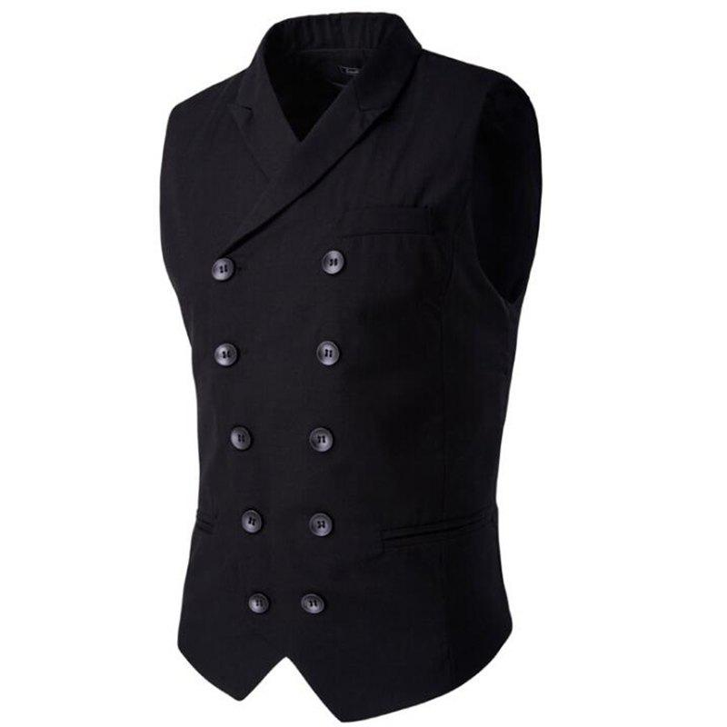 Men's Waistcoat Cotton Double-breasted Button Sleeveless Turndown Collar Gilet - BLACK 4XL