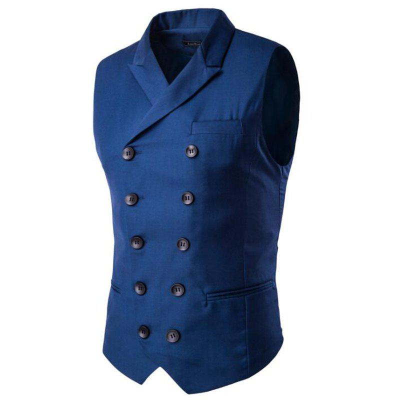 Men's Waistcoat Cotton Double-breasted Button Sleeveless Turndown Collar Gilet - BLUE 3XL