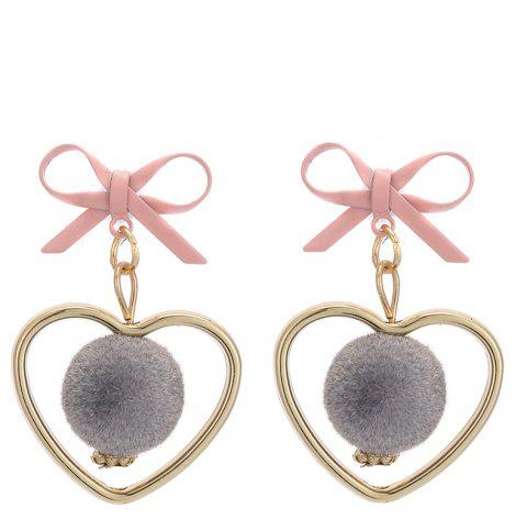 Fluffy Spherical Hollow Heart Bow Cute Earrings - GRAY