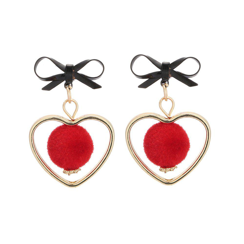 Fluffy Spherical Hollow Heart Bow Cute Earrings - RED