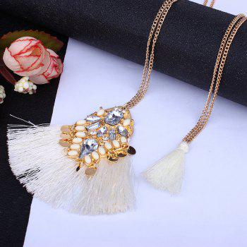 National Personality Tassel Pendant Hand Rhinestone Sweater Chain Necklace - WHITE