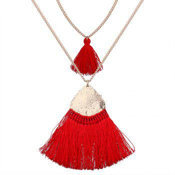 National Personality Tassel Pendant Hand Rhinestone Sweater Chain Necklace - RED