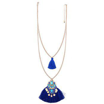 National Personality Tassel Pendant Hand Rhinestone Sweater Chain Necklace - BLUE