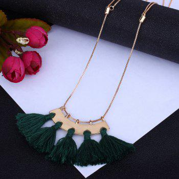 Personality Tassel Pendant Necklace Temperament Clavicle Chain - GREEN