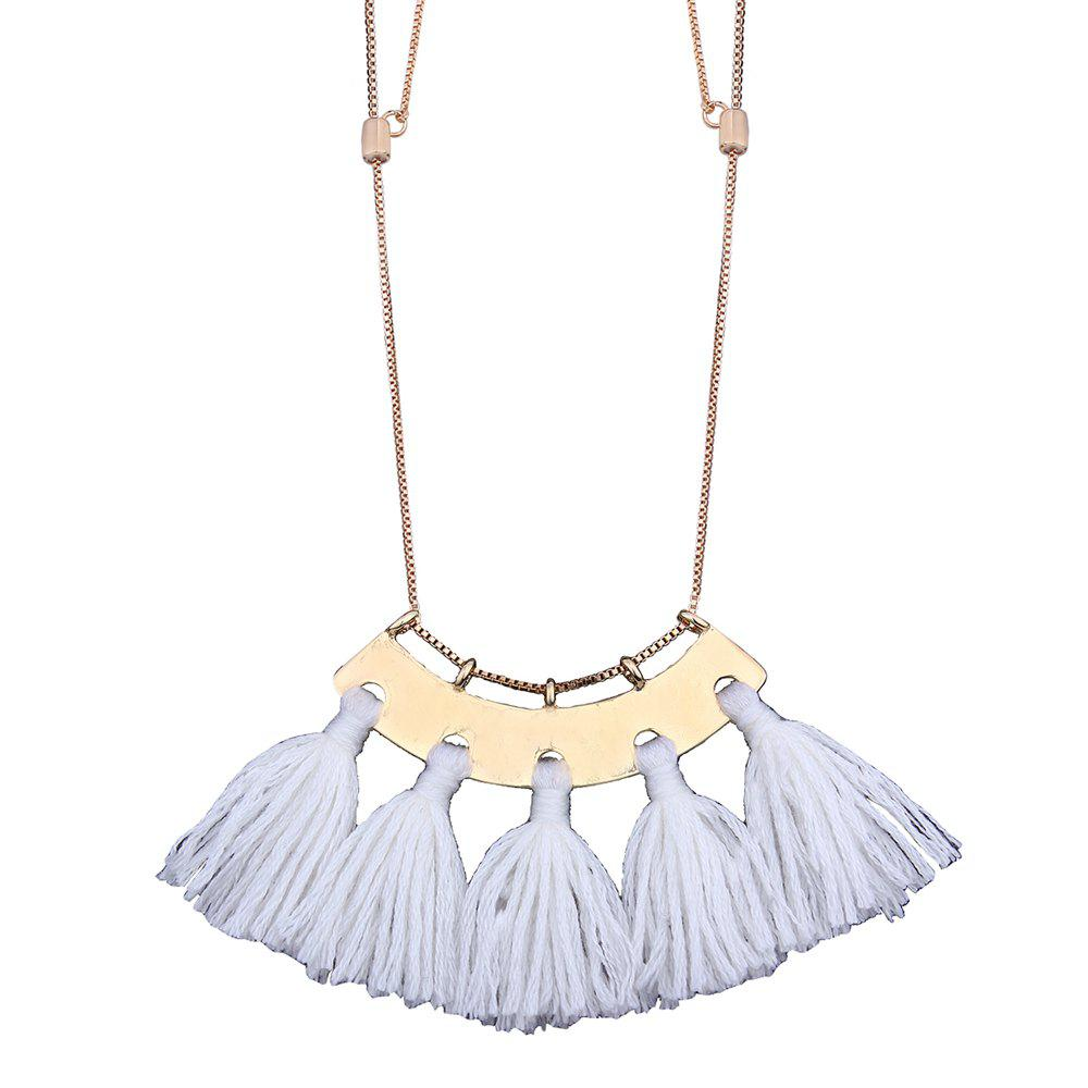Personality Tassel Pendant Necklace Temperament Clavicle Chain - WHITE