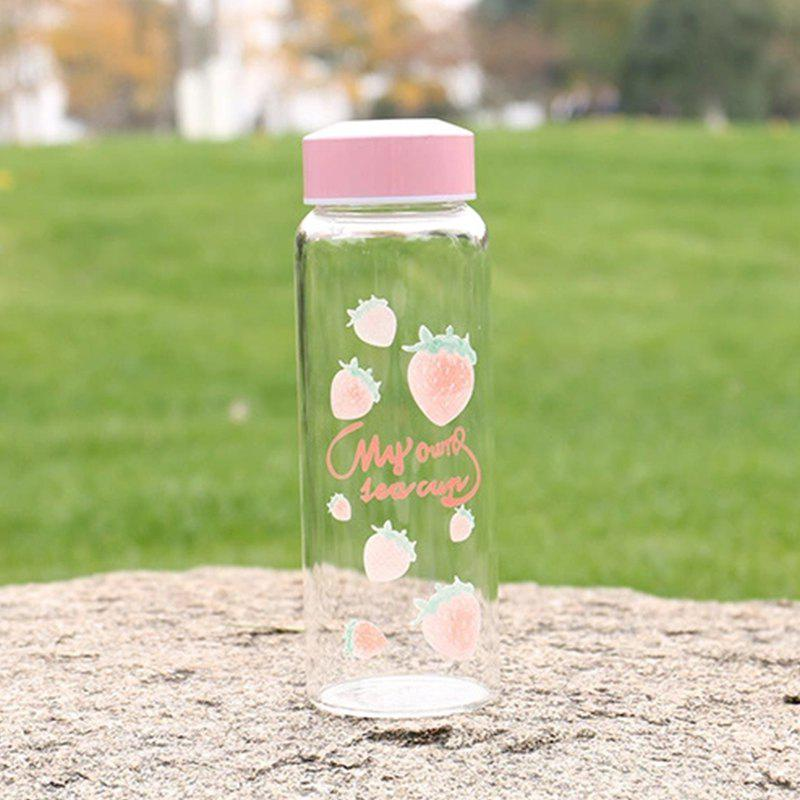 Creative Pink Strawberry Pattern Glass Leakproof Silicon Transparent Cup - PINK