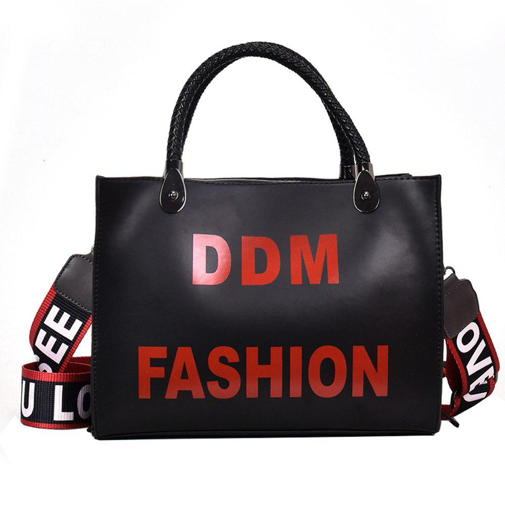 New Printing Ribbon Bags Fashion Shoulder Messenger Bag Color Bag - BLACK