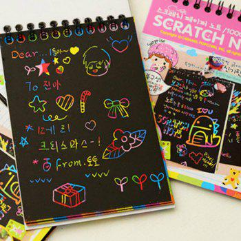 Doodling Painting Drawing Colorful Black Paper with Wood Stick - PINK