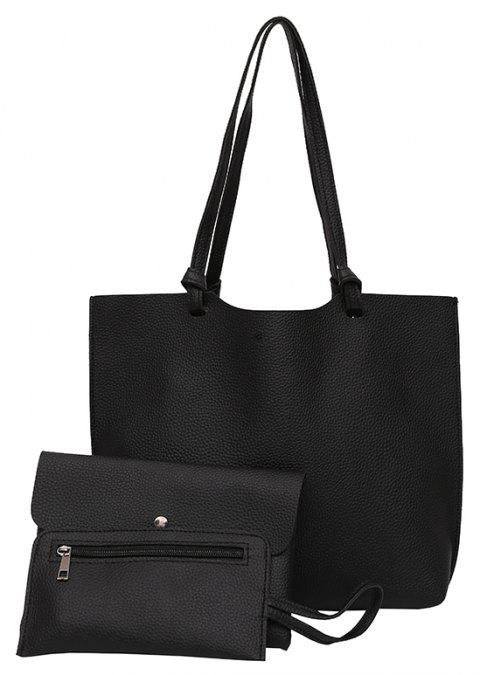 Three-piece Fashion Handbag Shoulder Messenger Bag - BLACK